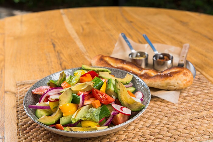Country-style salad and ciabatta